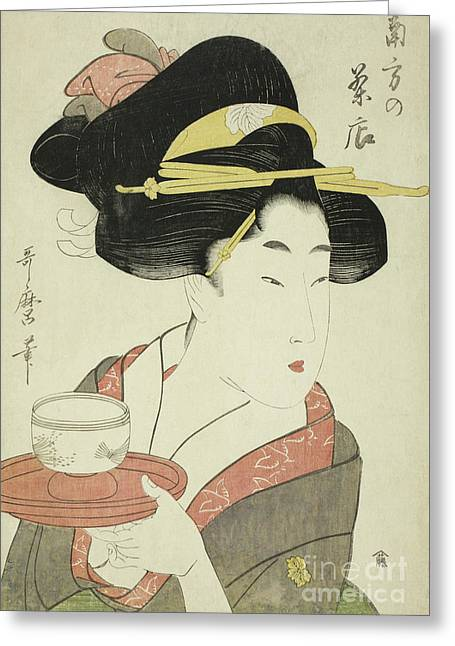 Southern Teahouse Greeting Card by Kitagawa Utamaro