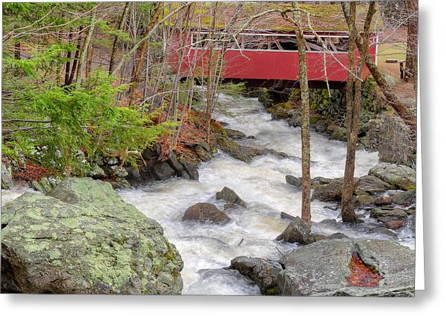 Connecticut Covered Bridge Greeting Cards - Southford Falls State Park Greeting Card by Bill Wakeley
