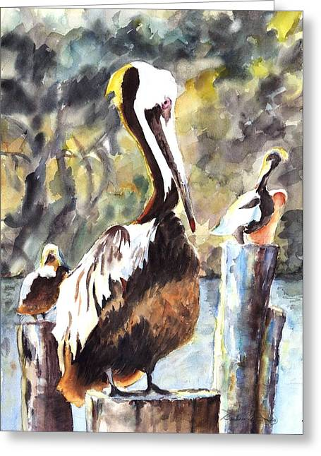 Water Fowl Mixed Media Greeting Cards - Southport Dandy Greeting Card by Barbara Jung