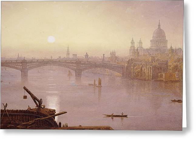 Southwark Bridge And St. Paul's Cathedral From London Bridge  Evening Greeting Card by George Fennel Robson