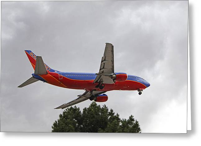 Southwest Airlines 737 On Approach Into Las Vegas Nv Greeting Card by Carl Deaville