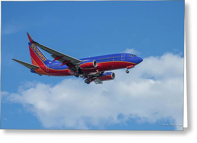Southwest Airlines Jet N223nw Color Perfect 2 Atlanta Georgia Greeting Card by Reid Callaway