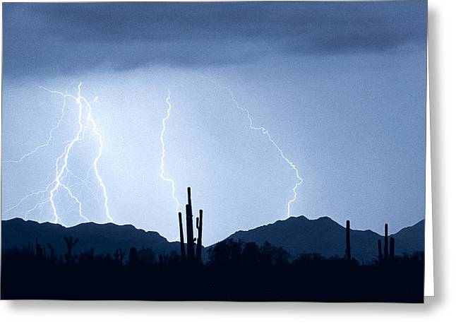 Southwest Desert Lightning Blues Greeting Card by James BO  Insogna