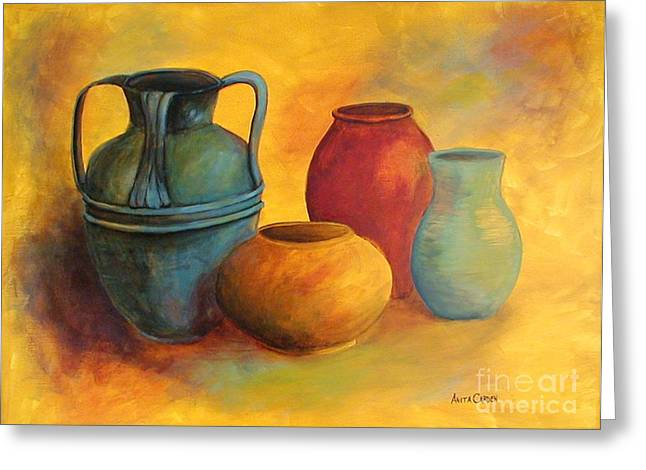 Original Pottery Greeting Cards - Southwest Pottery Greeting Card by Anita Carden