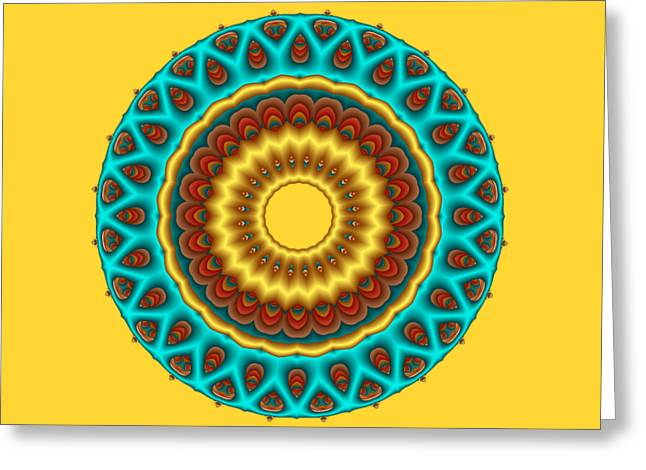 Gold Greeting Cards - Southwestern Peacock Fractal Mandala Greeting Card by Ruth Moratz