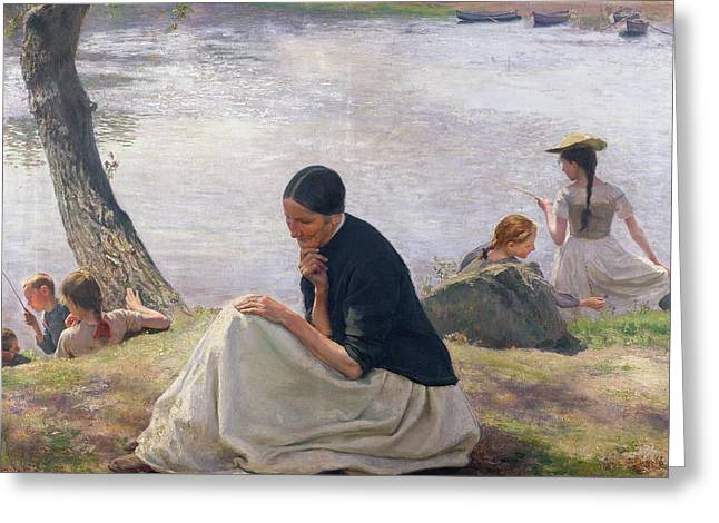 Pensive Greeting Cards - Souvenir Greeting Card by Emile Friant