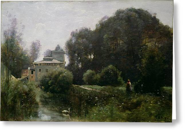 Moat Greeting Cards - Souvenir of the Villa Borghese Greeting Card by Jean Baptiste Camille Corot