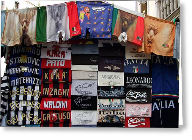 Boxer Shorts Greeting Cards - Souvenir Stand Venice Italy Greeting Card by Wayne Higgs