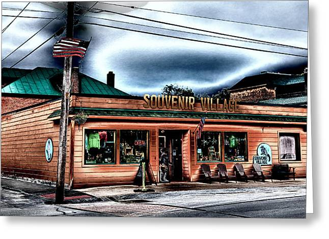 Old Forge Greeting Cards - Souvenir Village in Downtown Old Forge Greeting Card by David Patterson