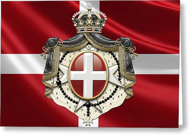 Sovereign Greeting Cards - Sovereign Military Order of Malta Coat of Arms over Flag Greeting Card by Serge Averbukh
