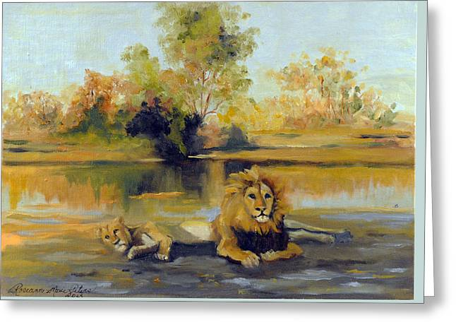 Lioness Greeting Cards - Sovereigns of the Serengeti   Greeting Card by Roseanne Marie Peters