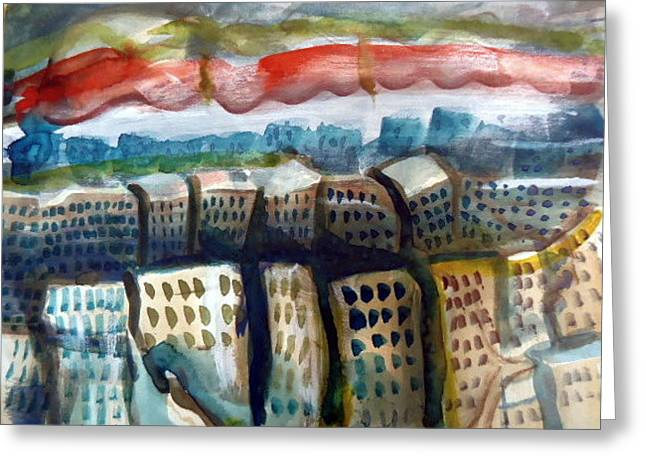 Soviet Union Paintings Greeting Cards - Soviet City Greeting Card by Steven Holder