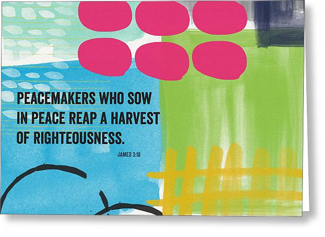 James Mixed Media Greeting Cards - Sow In Peace- Contemporary Christian Art by Linda Woods Greeting Card by Linda Woods