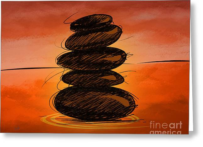 Treatment Mixed Media Greeting Cards - Spa Stones Greeting Card by Bedros Awak