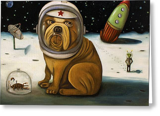 Dogs. Pugs Greeting Cards - Space Crash Greeting Card by Leah Saulnier The Painting Maniac