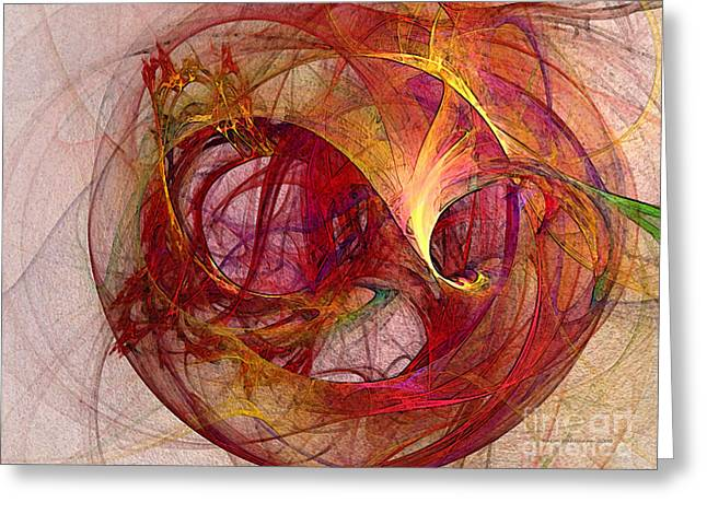 Space Demand Abstract Art Greeting Card by Karin Kuhlmann