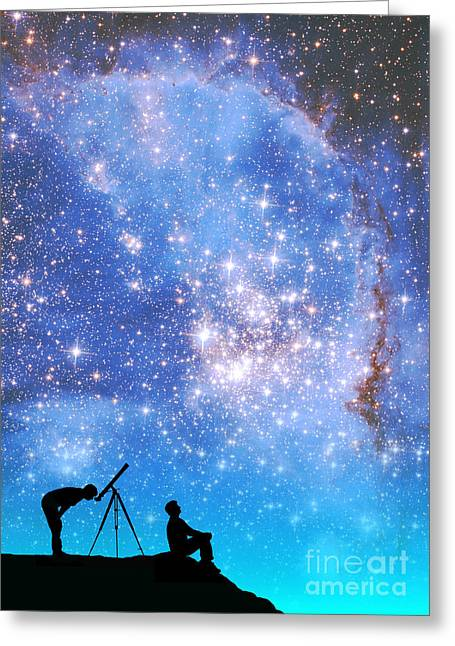 Small Magellanic Cloud Greeting Cards - Space Exploration Greeting Card by Larry Landolfi