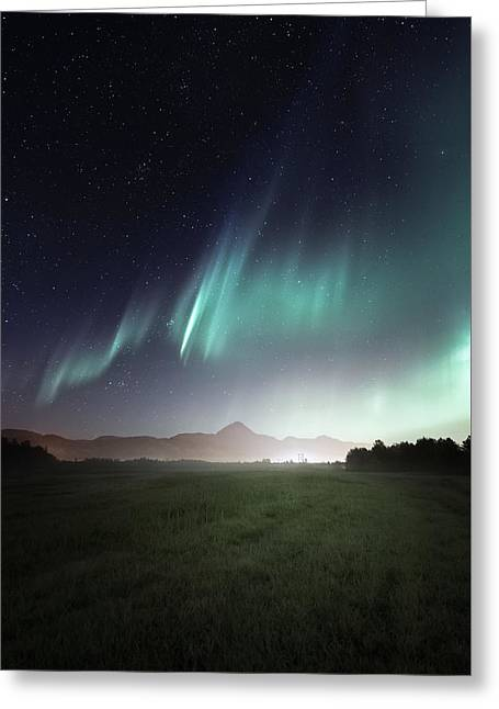 Northern Lights Greeting Cards - Space Farm Greeting Card by Tor-Ivar Naess