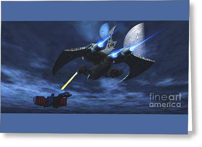 Star-ship Greeting Cards - Space Fight Greeting Card by Corey Ford