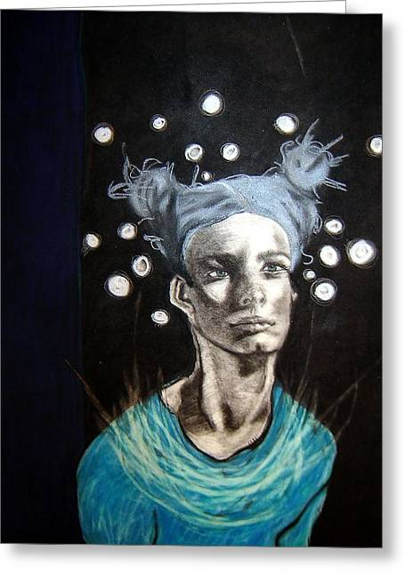 Angel Blues Greeting Cards - Space Girl Greeting Card by Chrissa Arazny