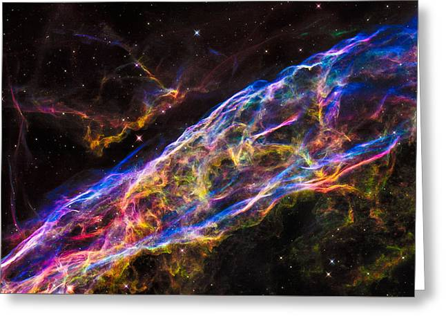 Space Image Colorful Veil Nebula Greeting Card by Matthias Hauser