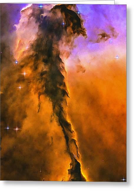 Space Image Eagle Nebula Orange Purple Bue Greeting Card by Matthias Hauser