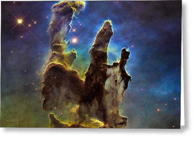 Space Image Eagle Nebulas Pillars Of Creation Greeting Card by Matthias Hauser