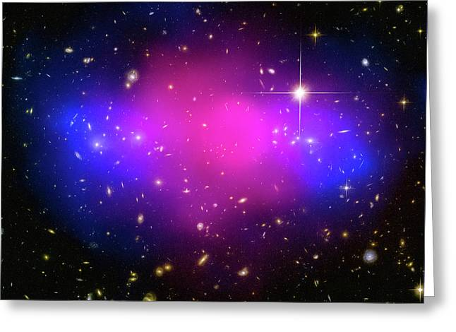 Space Image Galaxy Cluster Purple Blue Black Greeting Card by Matthias Hauser