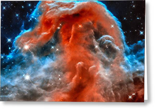 Horsehead Greeting Cards - Space image horsehead nebula orange red blue black Greeting Card by Matthias Hauser
