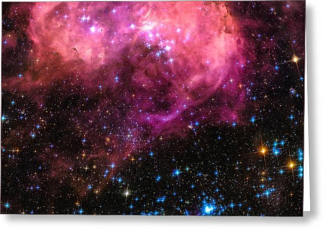 Space Image Large Magellanic Cloud Pink Blue Black Greeting Card by Matthias Hauser