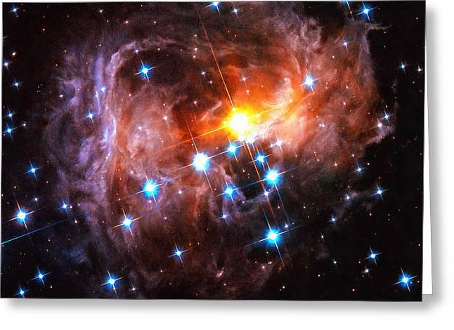 Space Image Light Echo Star V838 Monocerotis Greeting Card by Matthias Hauser