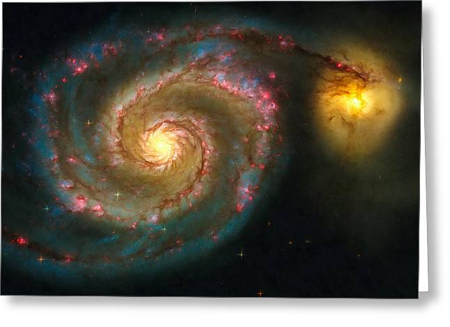Astronomic Greeting Cards - Space image spiral galaxy M51 Greeting Card by Matthias Hauser