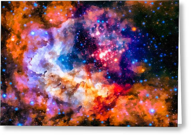 Astronomic Greeting Cards - Space image star cluster and nebula Greeting Card by Matthias Hauser