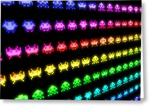 Arcades Greeting Cards - Space Invaders Greeting Card by Michael Tompsett