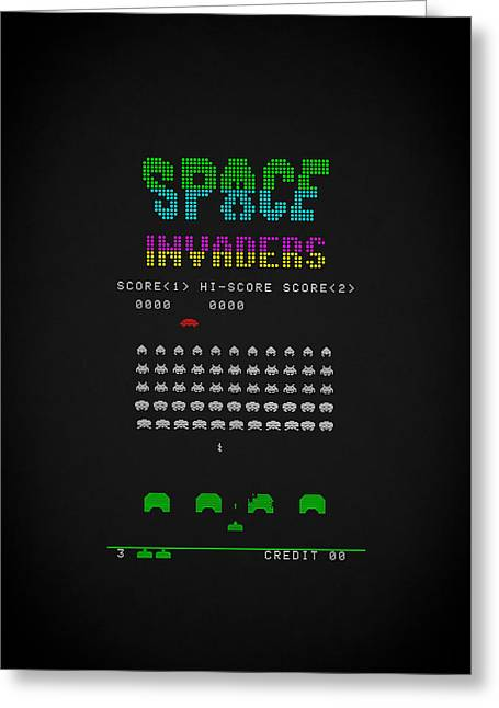 Invaders Greeting Cards - Space Invaders Greeting Card by Mark Rogan