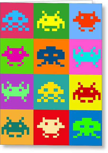 Space Art Greeting Cards - Space Invaders Squares Greeting Card by Michael Tompsett