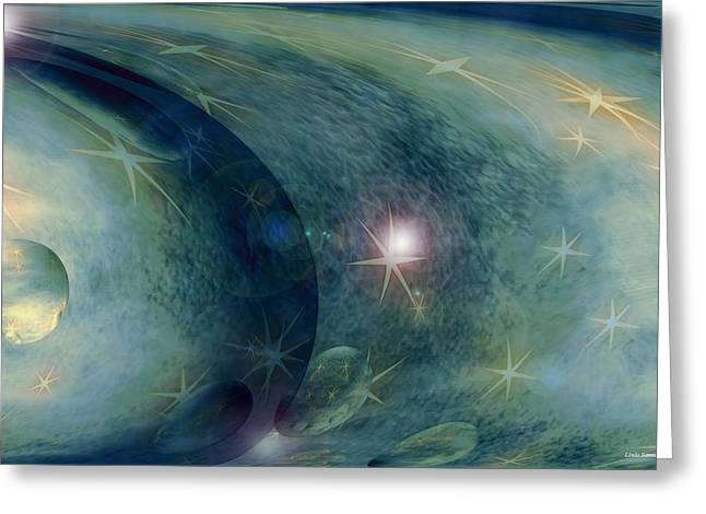 Abstract Digital Greeting Cards - Space Greeting Card by Linda Sannuti
