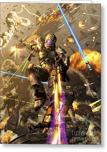 Human Tragedy Greeting Cards - Space Marine Fighting A Chaotic Battle Greeting Card by Kurt Miller