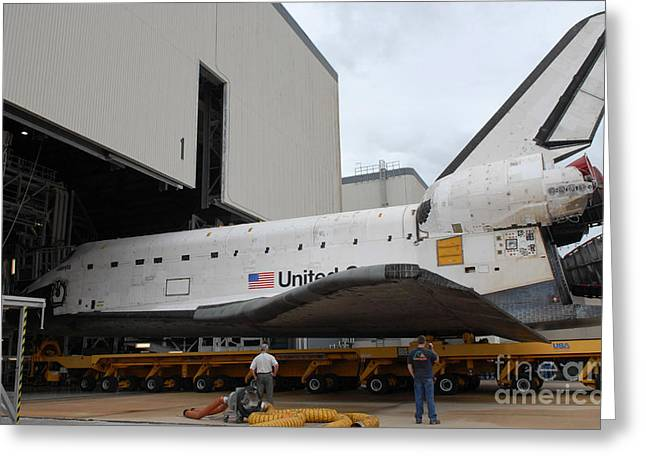 Maintenance Facility Greeting Cards - Space Shuttle Atlantis Rolls Greeting Card by Stocktrek Images