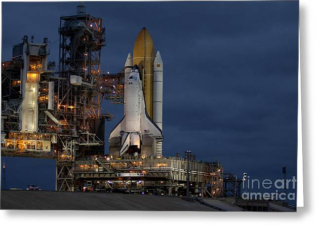 Rocket Boosters Greeting Cards - Space Shuttle Discovery Greeting Card by NASA/Amanda Diller