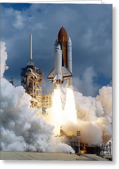 Tank Greeting Cards - Space Shuttle Launching Greeting Card by Stocktrek Images