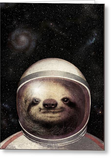 Star Drawings Greeting Cards - Space Sloth Greeting Card by Eric Fan
