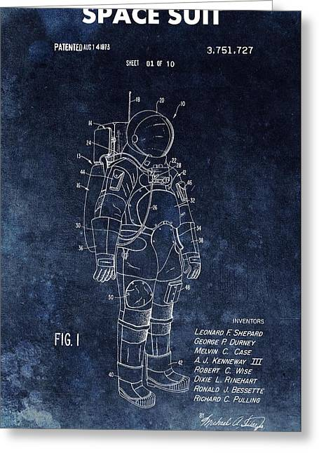 Space Suit Patent Illustration Greeting Card by Dan Sproul