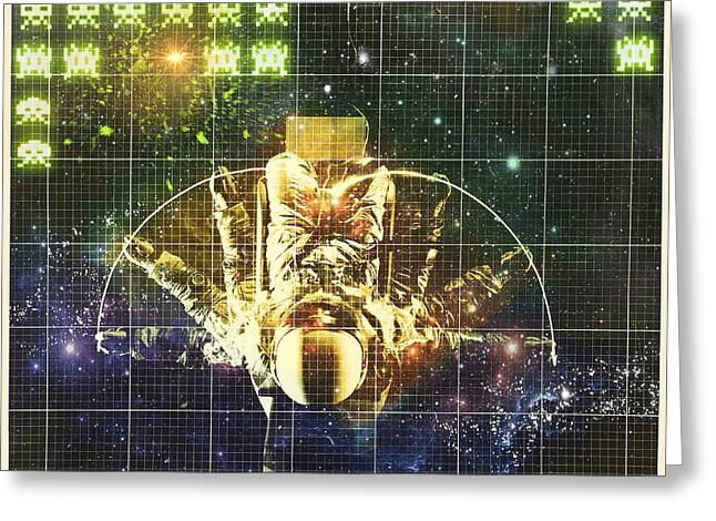 Vintage Video Game Digital Art Greeting Cards - Space The Final Frontier Greeting Card by Sharon Padilla