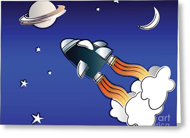 Smoke Trail Greeting Cards - Space travel Greeting Card by Jane Rix
