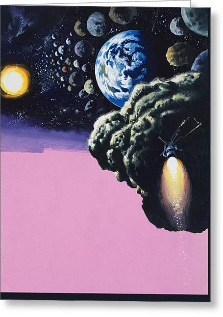 Space Greeting Card by Wilf Hardy