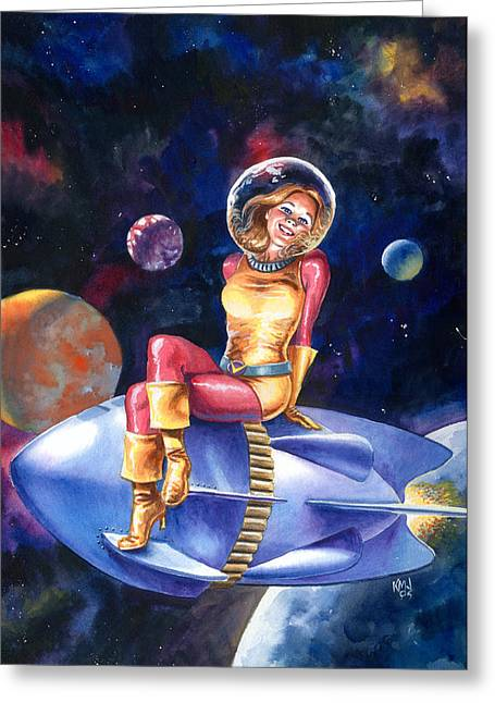 Spacegirl Greeting Card by Ken Meyer jr