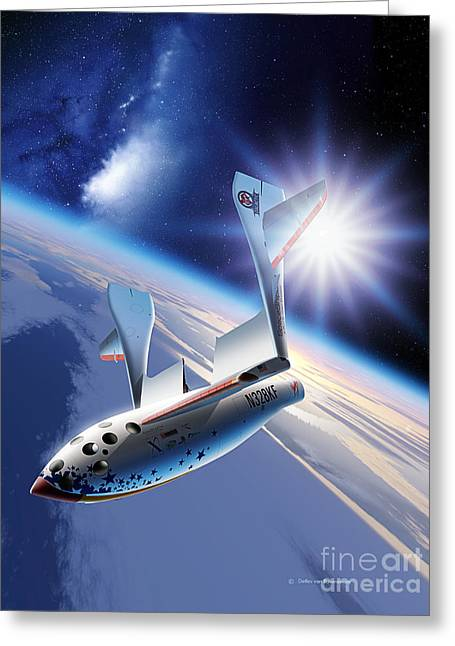 21st Greeting Cards - SpaceShipOne Re-Entry Greeting Card by Detlev van Ravenswaay and Photo Researchers