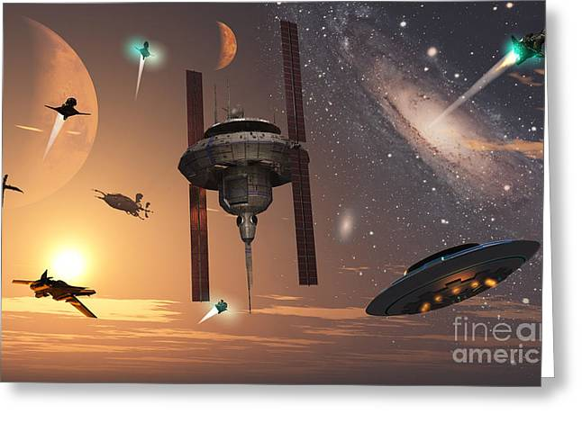 Digitally Generated Image Digital Art Greeting Cards - Spaceships Used By Different Alien Greeting Card by Mark Stevenson