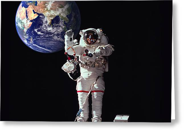 Outer Space Mixed Media Greeting Cards - Spacewalk Earth Greeting Card by Daniel Hagerman
